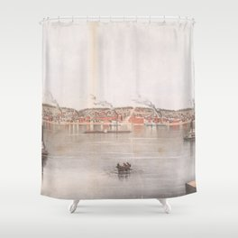 Vintage Pictorial Map of Davenport IA (1855) Shower Curtain