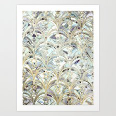 Pale Bright Mint and Sage Art Deco Marbling Art Print
