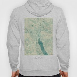 Zurich Map Blue Vintage Hoody