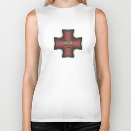"""""""Chaos"""" Chinese Calligraphy on Celtic Cross Biker Tank"""