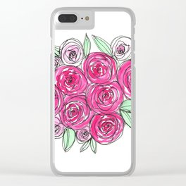 Watercolor Pink Rose Bouquet Clear iPhone Case