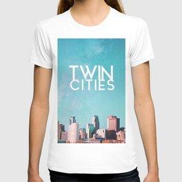 Twin Cities Skylines and Stars-Minneapolis and Saint Paul Minnesota T-shirt
