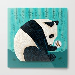 The Panda and The Butterfly - turquoise version Metal Print
