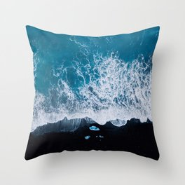 Abstract and minimalist black sand beach in Iceland with chunks of Ice and waves - moody Landscapes Throw Pillow