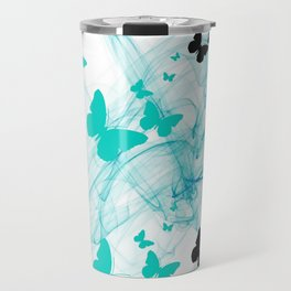 Abstract butterflys Teal and black Travel Mug