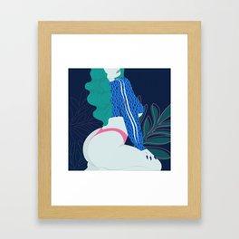 Humpday // Woman, Pin Up, Bum, Ass, Blue, Pink, Plant Framed Art Print