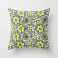 Yellow Circle Flowers Throw Pillow