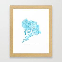 Barcelona map: Ciutat Vella Framed Art Print