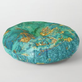 Malachite and Gold Glitter Stone Ink Abstract Gem Glamour Marble Floor Pillow