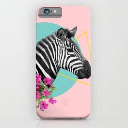 zebra and petunias iPhone Case