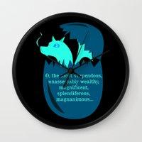 smaug Wall Clocks featuring O Smaug by Fairly Artful Artworks