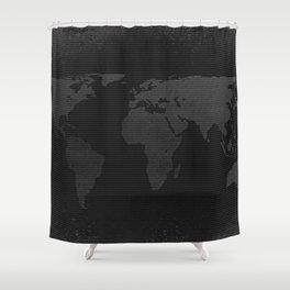 Retro world map Shower Curtain