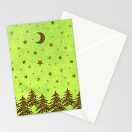Sparkly Christmas tree, stars on abstract green paper Stationery Cards