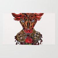 taurus Area & Throw Rugs featuring Taurus  by Felicia Cirstea