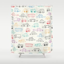 Hand drawn vehicles doodle pattern Shower Curtain