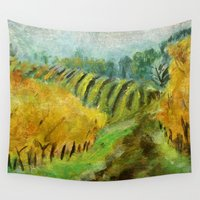 oregon Wall Tapestries featuring Oregon Vineyard  by James Peart
