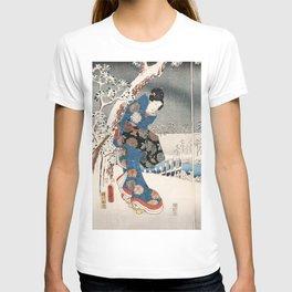 Japanese Vintage Kunisada Hiroshige Snowy Landscape T-shirt