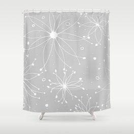 Graphic fireworks pattern-gray Shower Curtain