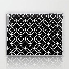 Interlinking Circles Pattern White on Black Laptop & iPad Skin