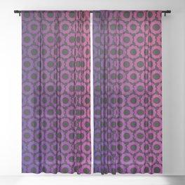 Blue Purple Ombre Hexagon Sprockets Sheer Curtain