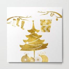 Gold Christmas 03 Metal Print