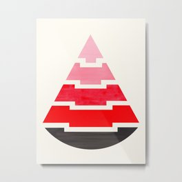 Futuristic Abstract Minimalist Mid Century Tribal Aztec Triangle Raindrop Red Geometric Pattern Metal Print
