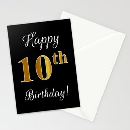 """Elegant """"Happy 10th Birthday!"""" With Faux/Imitation Gold-Inspired Color Pattern Number (on Black) Stationery Cards"""