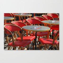 Red Café Scene in Paris Canvas Print