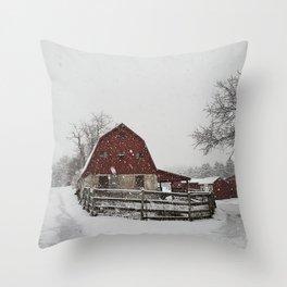 My Little Red Barn Winter Landscape Throw Pillow
