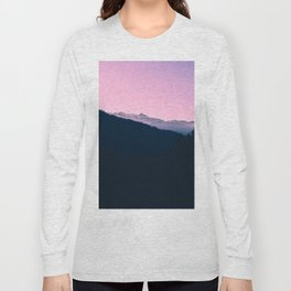 Pink Sunset Rolling Hill Silhouette Landscape Photo Long Sleeve T-shirt