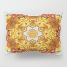 Gold Chrysanthemum Kaleidoscope Art 2 Pillow Sham