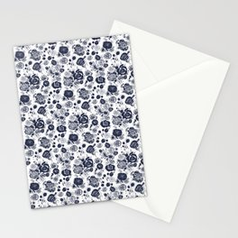 Summer Garden Indigo II Floral Pattern Stationery Cards