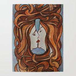 Lesbian Kiss (Art Nouveau Style) Poster