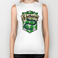 slytherin Biker Tanks featuring Slytherin Crest by AriesNamarie