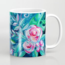 Tropical Camellia Extravaganza - oil on canvas Coffee Mug