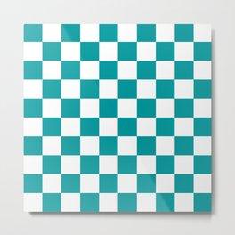 Blue, Teal: Checkered Pattern Metal Print