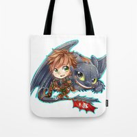 hiccup Tote Bags featuring Httyd 2 - Chibi Hiccup and Toothless by ibahibut