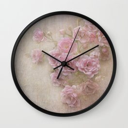 Pink Vintage Roses Wall Clock