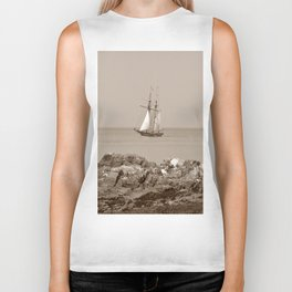 Tall ship sailing sepia finish Biker Tank