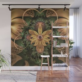 Beautiful Filigree Oxidized Copper Fractal Orchid Wall Mural
