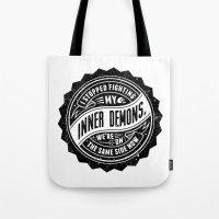 inner demons Tote Bags featuring Inner Demons by Indigo Perez