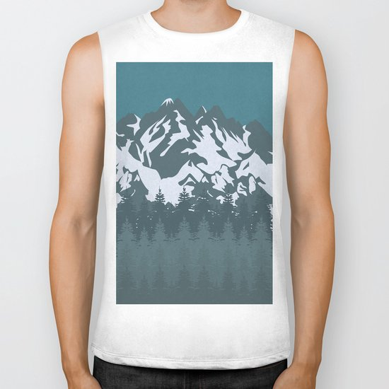Trees and Mountains Biker Tank