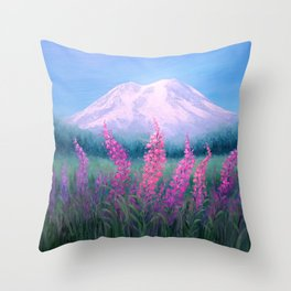 Fireweed Phenomenon on Mount Rainier Throw Pillow