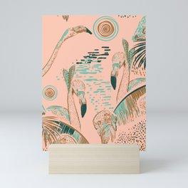 Flamingos in linocut look Mini Art Print