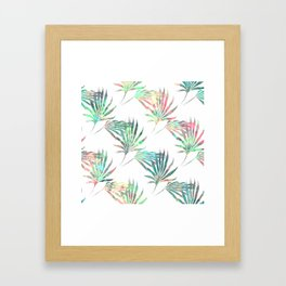 Palmetto Fronds Tropical Multicolor Pattern Framed Art Print