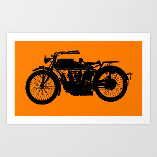 Antique Motorcycle // Orange by thinlinetextiles
