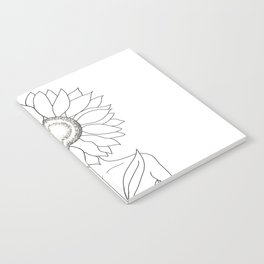 Minimalistic Line Art of Woman with Sunflower Notebook