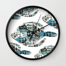 Fish in the living room art print Wall Clock