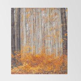 orange autumn Throw Blanket