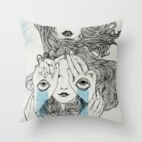 sisters Throw Pillows featuring Sisters by Katastrofe